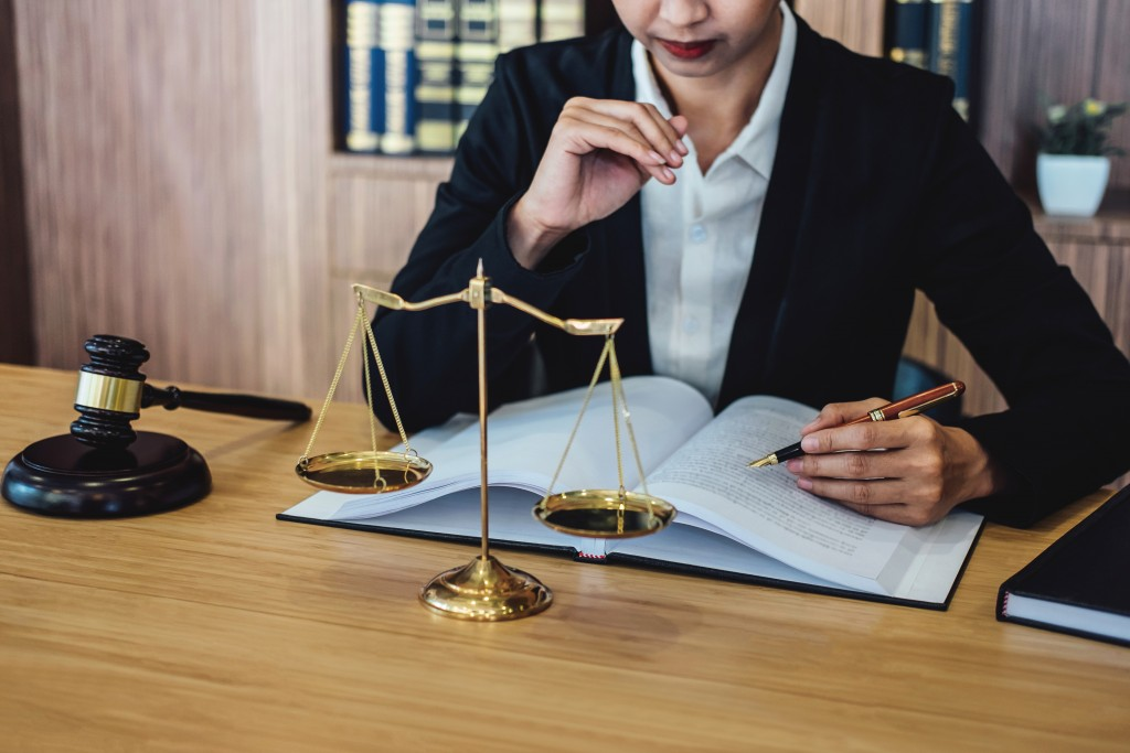 person inside a law office