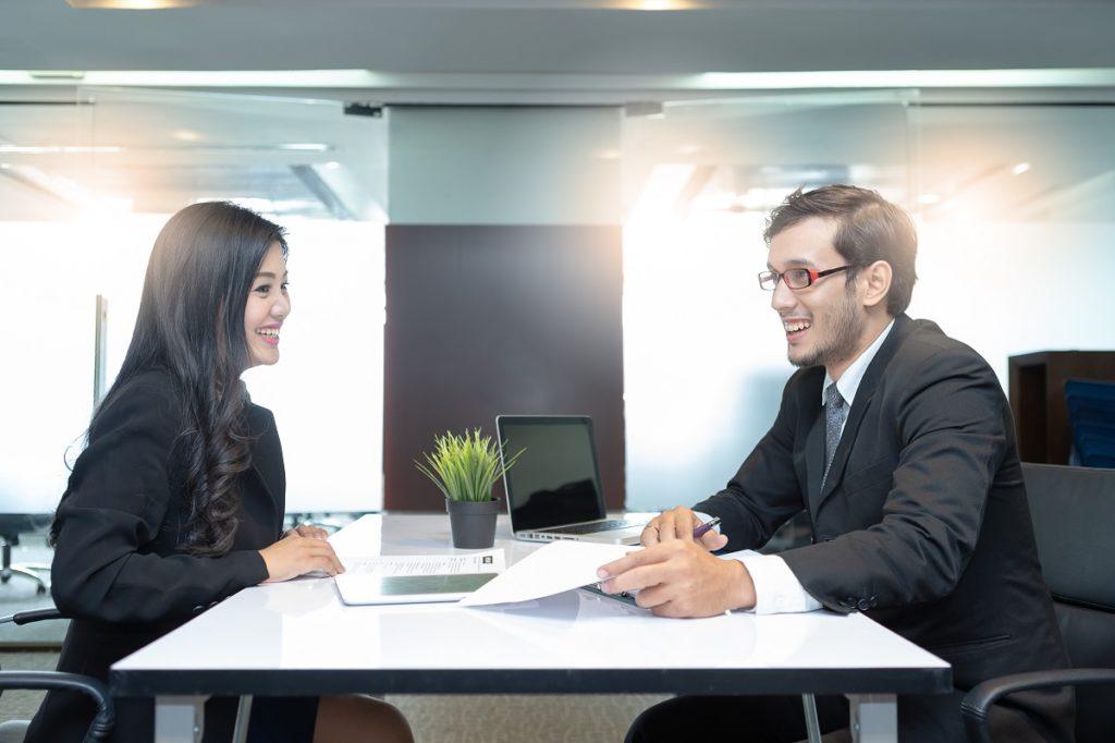 woman having an interview